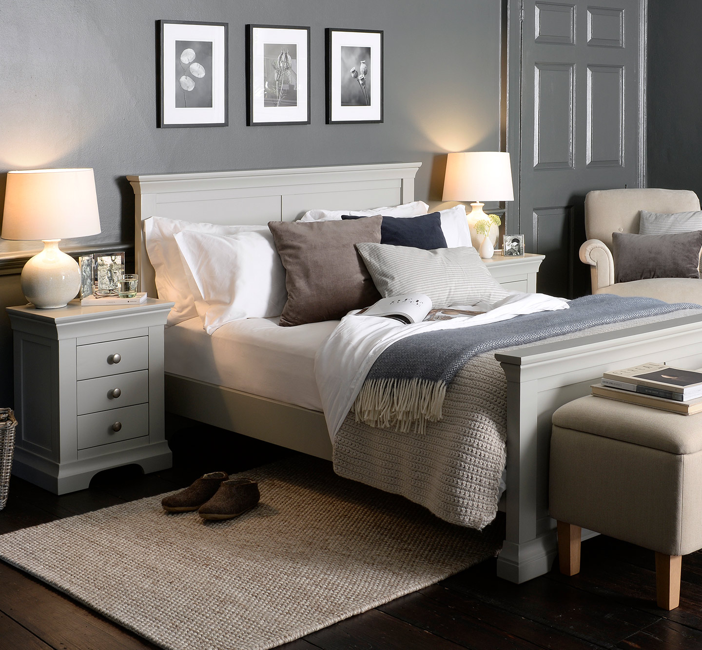 Cotswold Co Chantilly handcrafted Pebble Grey bedroom furniture collection, painted bed, ottoman, blanket box, bedside tables.