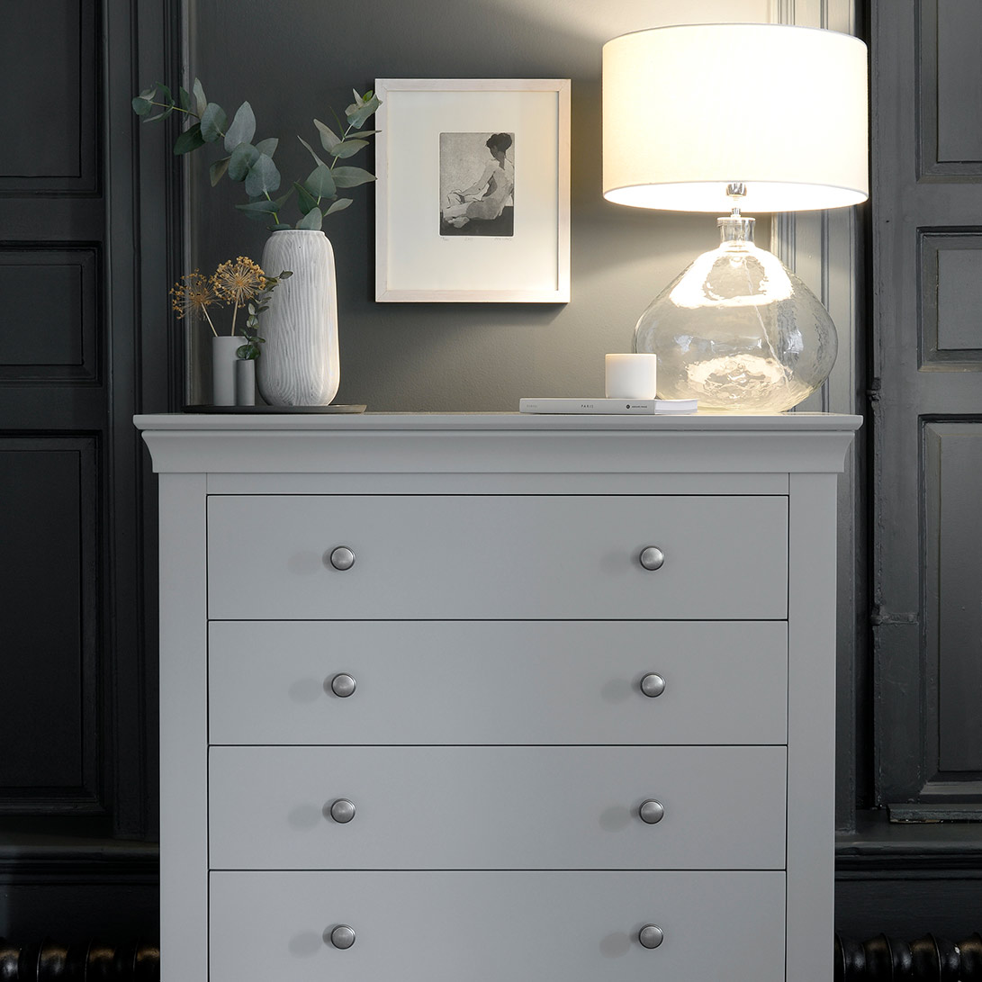 Cotswold Co Chantilly Pebble Grey painted 6 drawer tall chest, chest of drawers, bedroom furniture, chest storage.