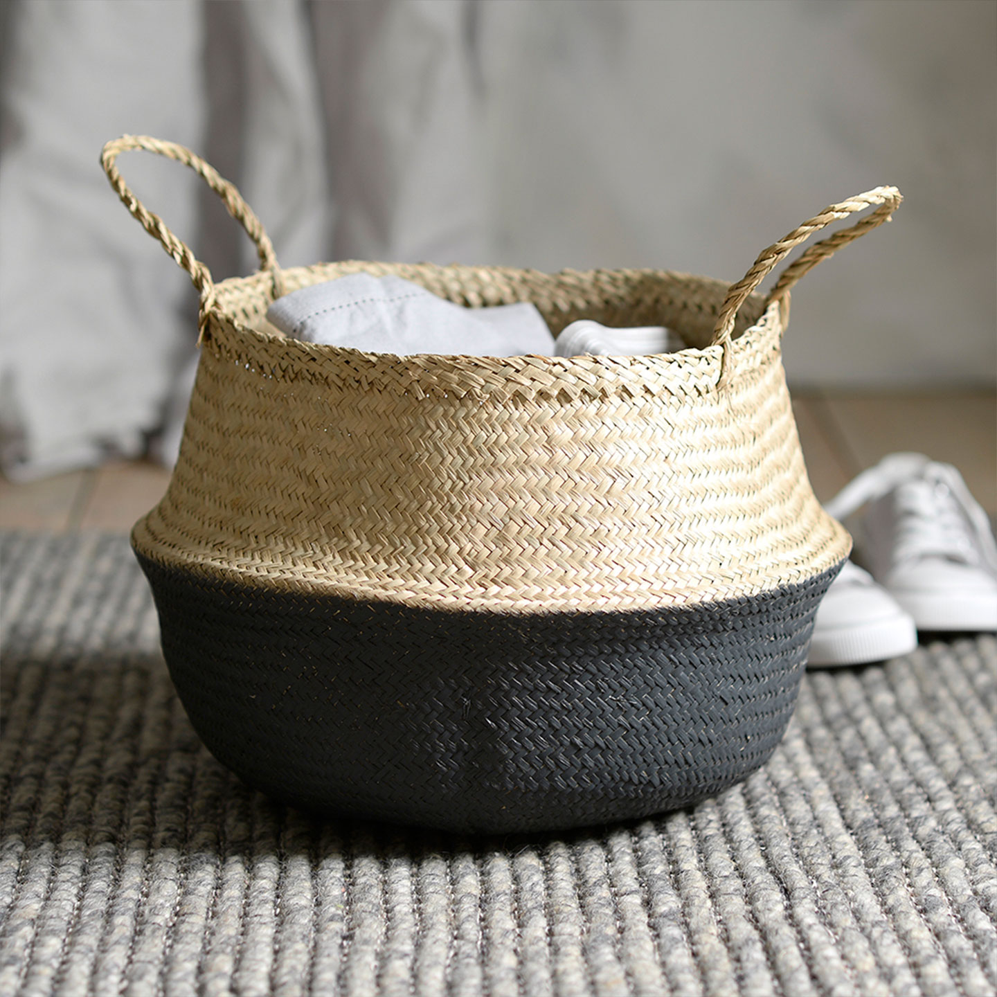 Cotswold Co home accessories, grey dipped seagrass storage basket.