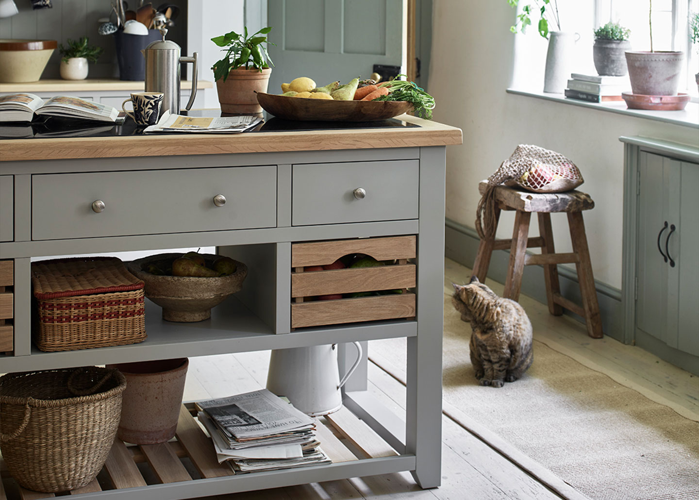 Cotswold Co Chester Dove Grey Kitchen Island with granite and oak top and storage.