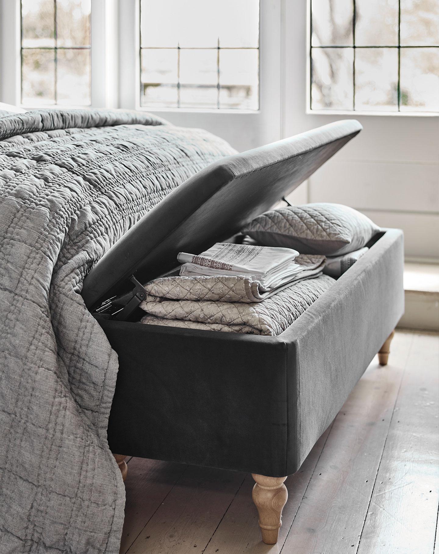 Cotswold Co Huxley velvet grey Ottoman, blanket box, bedspread, bedroom storage.