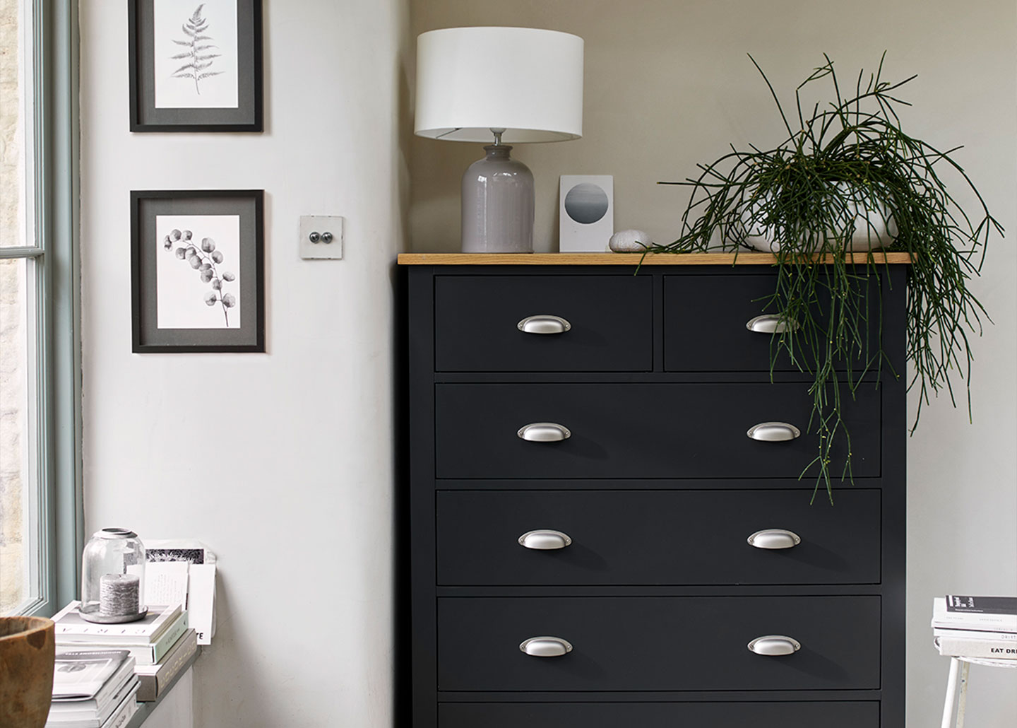 Simply Cotswold charcoal 2+4 tall chest of drawers with solid oak top and steel handles, bedroom furniture