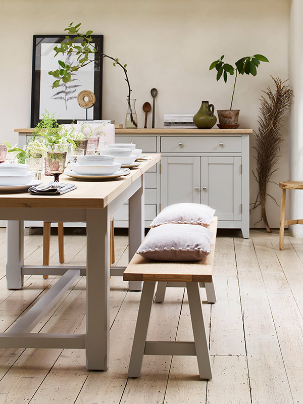 Cotswold Co Chester Dove Grey extending solid oak and real wood veneer Dining Room Table and bench seat.