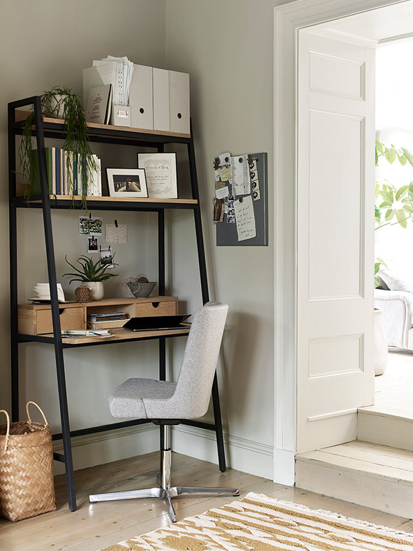 Cotswold Co Moreton metal & oak ladder desk with Blockley upholstered office chair, working from home.