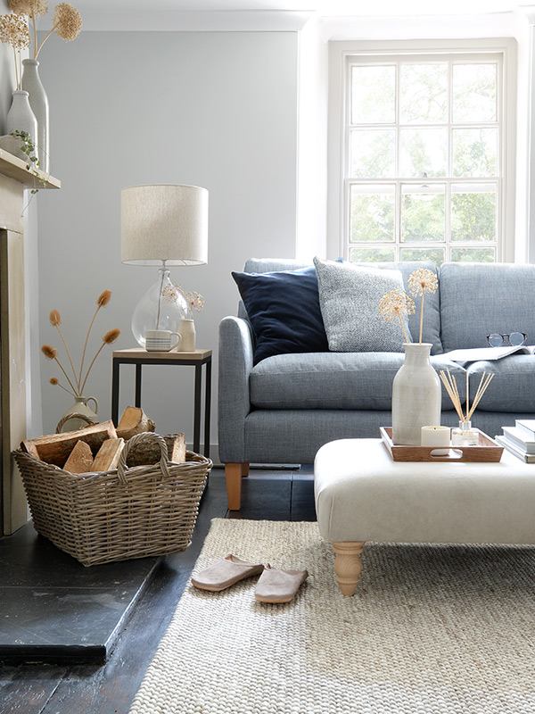 Cotswold Co Living Room Furniture, Cooper 2 Seater Sofa in Indigo Rustic Weave Fabric, Made to order upholstery
