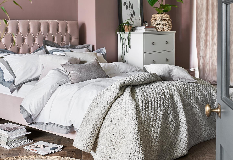 Evesham Blush Upholstered Bed, Bedding, Bedlinen, Bedroom Furniture