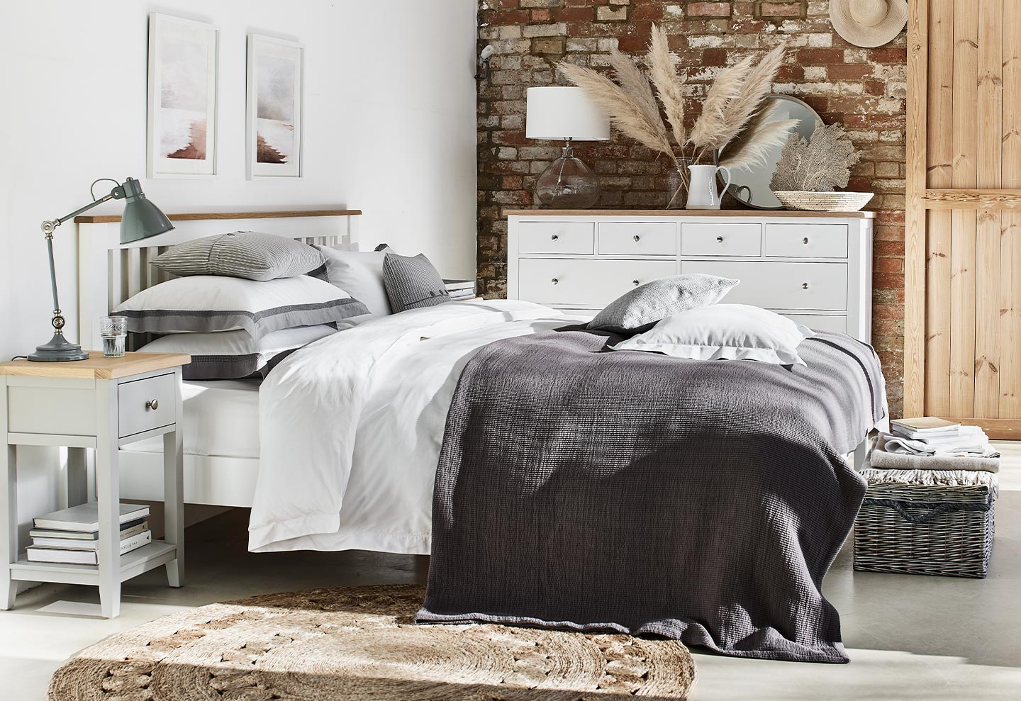 Chester White Bedroom Chest, Chester Grey Bedside Table, Chester White Wooden Bed, Bedroom Furniture