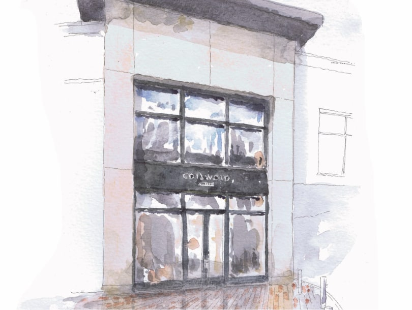 Chelmsford Cotswold Company Furniture and Homeware Store, 110 Bond Street, CM1 1GH, shop front, watercolour painting