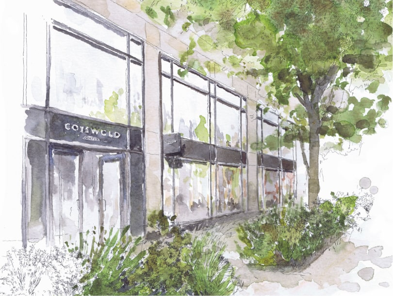 Harrogate Cotswold Company Furniture and Homeware Store, 49-57 Station Parade, HG1 1TT, shop front, watercolour painting