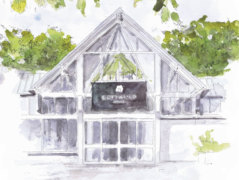 Norwich Cotswold Company Furniture and Homeware Store, 61 Riverside Road, NR1 1SR, shop front watercolour painting