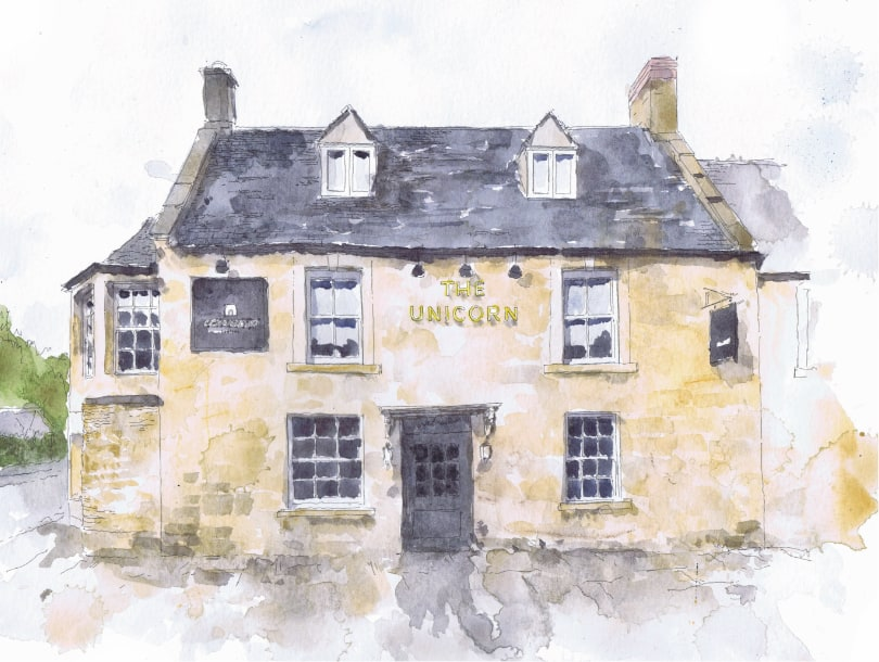 Stow-on-the-Wold Cotswold Company Furniture and Homeware Store, The Unicorn, Sheep Street, GL54 1HQ, shop front, watercolour painting